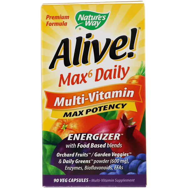 Nature's Way, Alive! Max6 Daily, Multivitamínico, 90 Cápsulas Vegetais