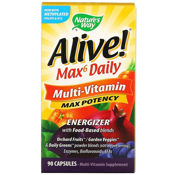 Nature's Way, Alive! Max6 Daily, мультивитамины, 90 капсул