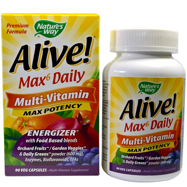 Nature's Way, Alive!, Max6 Daily, Multi-Vitamin, Max Potency, 90 Veggie Caps
