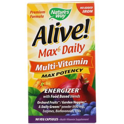 Alive! Max6 Daily, мультивитаминный комплекс, без добавления железа, 90 растительных капсул
