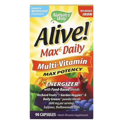 Natures Way Alive! Max6 Daily, мультивитаминный комплекс, без добавления железа, 90капсул