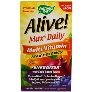 Nature's Way, Alive! Max6 Daily, Multi-Vitamin, Max Potency, 90 Veggie Caps