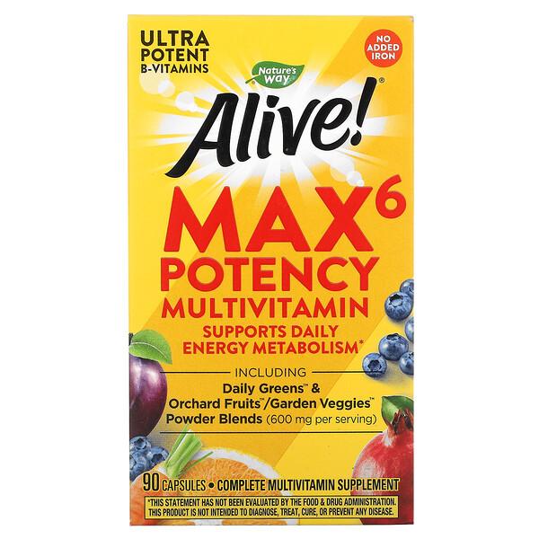 Alive! Max6 Potency, мультивитамины повышенной эффективности, без добавления железа, 90капсул