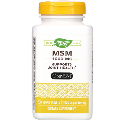 Natures Way МСМ, Pure OptiMSM, 1000 мг, 200 таблеток
