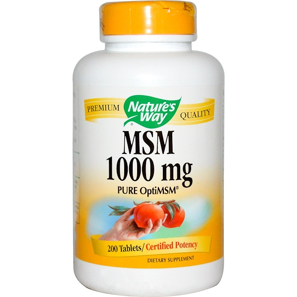 Nature's Way, MSM, Pure OptiMSM, 1000 mg, 200 Tablets