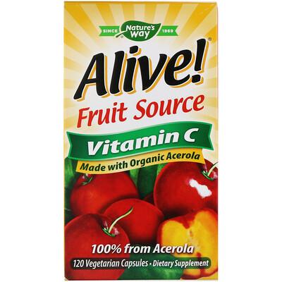 Nature's Way Alive!, фруктовый источник, витамин С, 120 вегетарианских капсул  - купить со скидкой