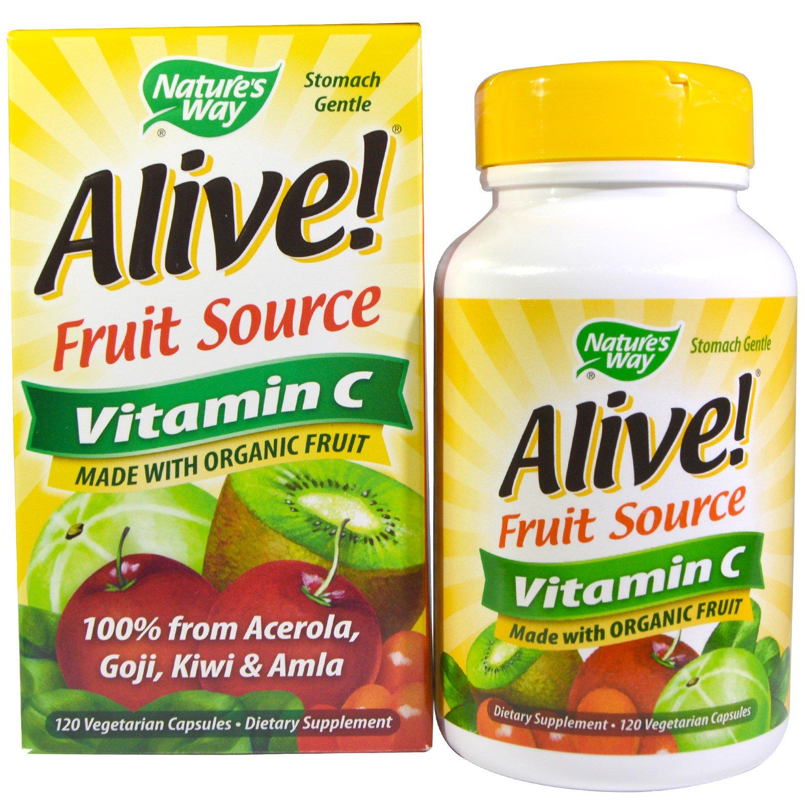 Nature's Way, Alive!, фруктовый источник, витамин C, 120 вегетарианских капсул