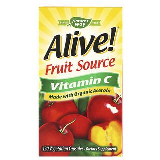 Nature's Way, Alive!, Fruit Source Vitamin C, aus Früchten gewonnenes Vitamin C, 120 pflanzliche Kapseln