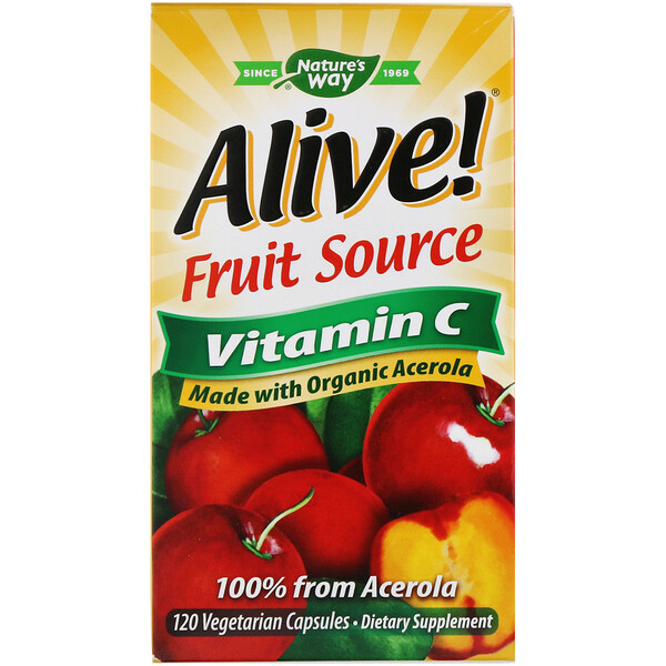 Alive!, Fruit Source, Vitamin C, 120 Vegetarian Capsules