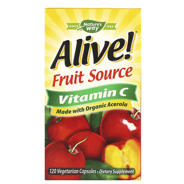 Nature's Way, Alive!, Fruit Source Vitamin C, 120 Vegetarian Capsules