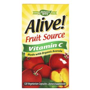 Натурес Вэй, Alive!, Fruit Source Vitamin C, 120 Vegetarian Capsules отзывы покупателей