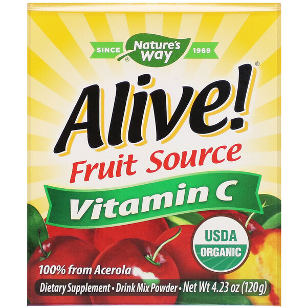 Nature's Way, Alive!, Fruit Source, Vitamin C, Drink Mix Powder, Organic Acerola Fruit , 4.23 oz (120 g)