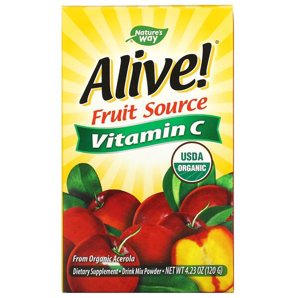 Nature's Way, Alive!, 과일 원료, 비타민C, 드링크 믹스 분말, 유기농 아세롤라 과육, 120g(4.23oz)