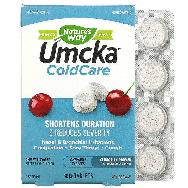 Umcka, ColdCare, Cherry, 20 Chewable Tablets