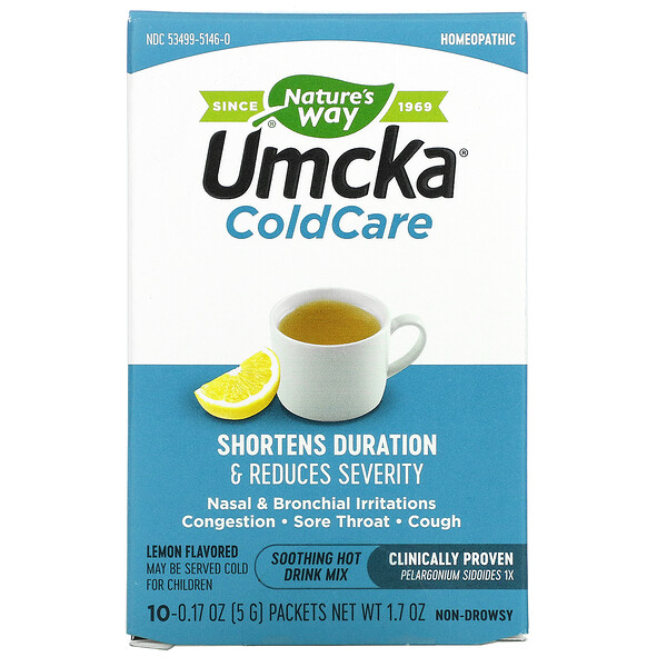 Umcka, ColdCare, Soothing Hot Drink, Lemon Flavored, 10 Packets