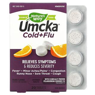 Nature's Way, Umcka, Cold+Flu, Orange, 20 Tablets