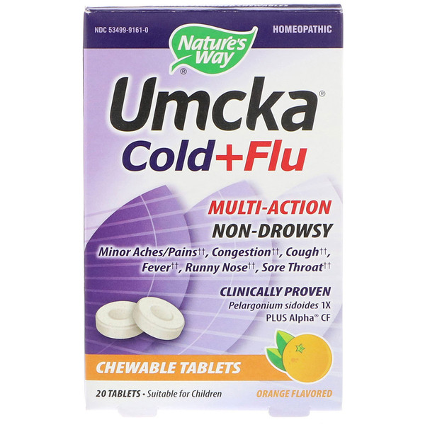 Umcka, Cold+Flu, Orange, 20 Chewable Tablets