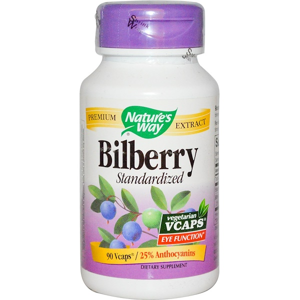 Nature's Way,  Bilberry, Standardized, 90 Vcaps (Discontinued Item)