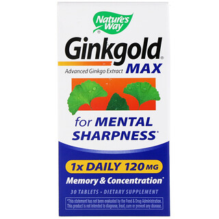 Nature's Way, Ginkgold Max, Memory & Concentration, 120 mg, 30 Tablets