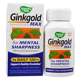 Nature's Way, Ginkgold Max, 120 mg, 60 Tablets