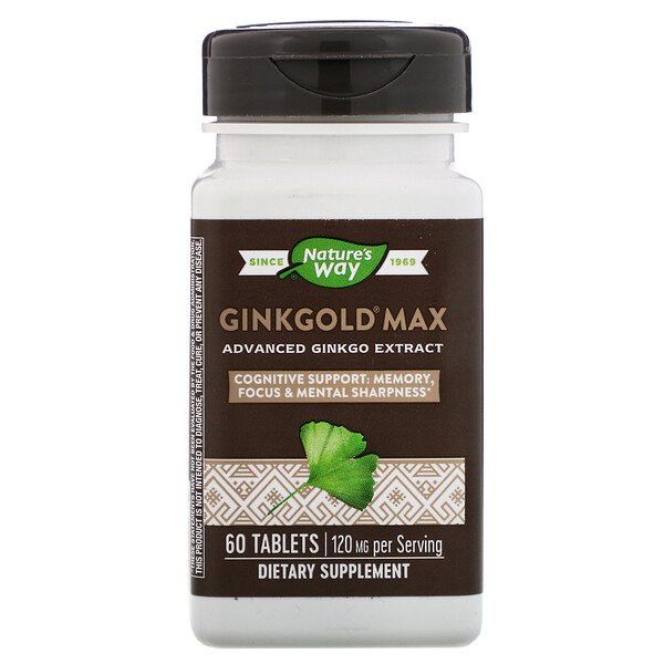 Nature's Way, Ginkgold Max, 120 mg, 60 Comprimidos
