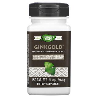 Nature's Way, Ginkgold, Extracto avanzado de ginkgo, 60mg, 150comprimidos
