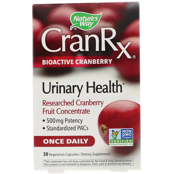 CranRx, Urinary Health, Bioactive Cranberry, 500 mg, 30 Vegetarian Capsules
