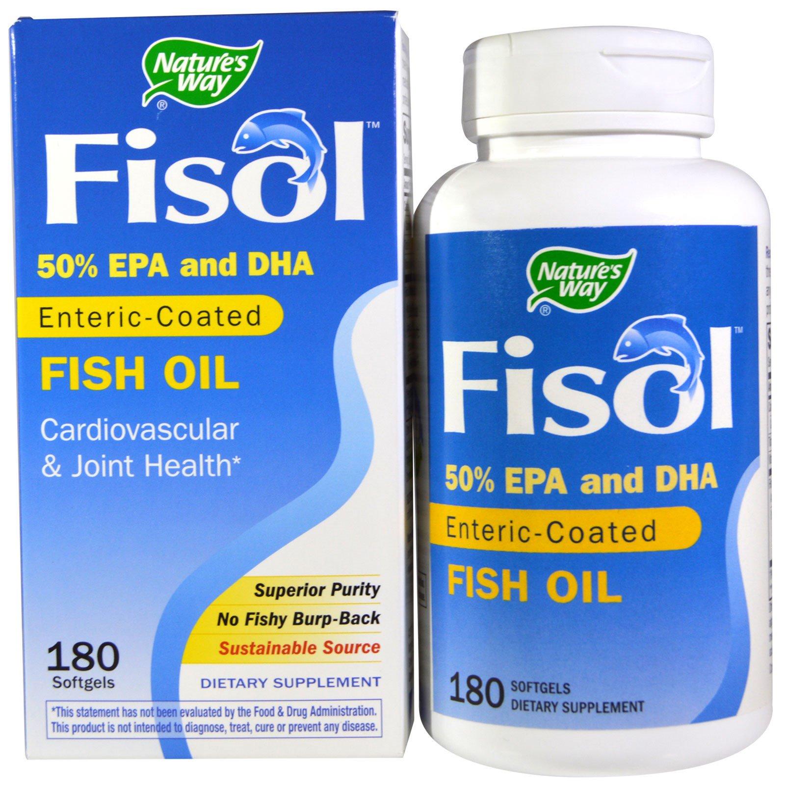 Nature's Way, Fisol, рыбий жир, 180 мягких желатиновых капсул