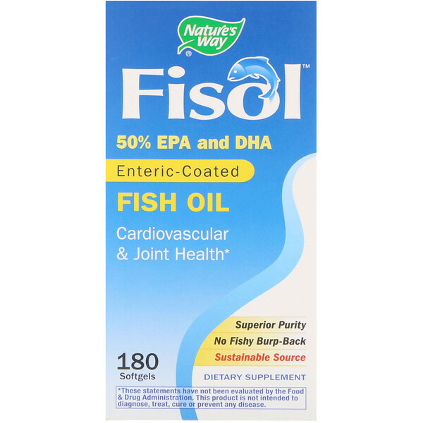 Nature's Way, Fisol, Enteric- Coated Fish Oil, 180 Softgels
