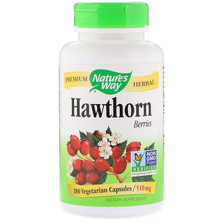 Nature's Way, Hawthorn Berries, 510 mg, 180 Vegetarian Capsules