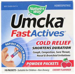 Nature's Way, Umcka, Fast Actives, Cold Relief, Cherry Flavor, 10 Powder Packets