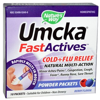 Nature's Way, Umcka, Fast Actives, Cold + Flu Relief, Non-Drowsy, Berry Flavor, 10 Powder Packets