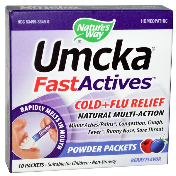 Umcka, Fast Actives, Cold + Flu Relief, Non-Drowsy, Berry Flavor, 10 Powder Packets