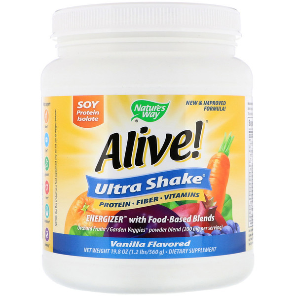 Nature's Way, Alive! Ultra-Shake奶昔,香草口味,19.8盎司(560克)