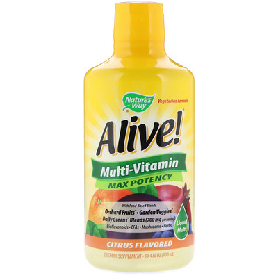 Купить Nature's Way Alive! Liquid Multi-Vitamin, Max Potency, Citrus, 30.4 fl oz (900 ml)