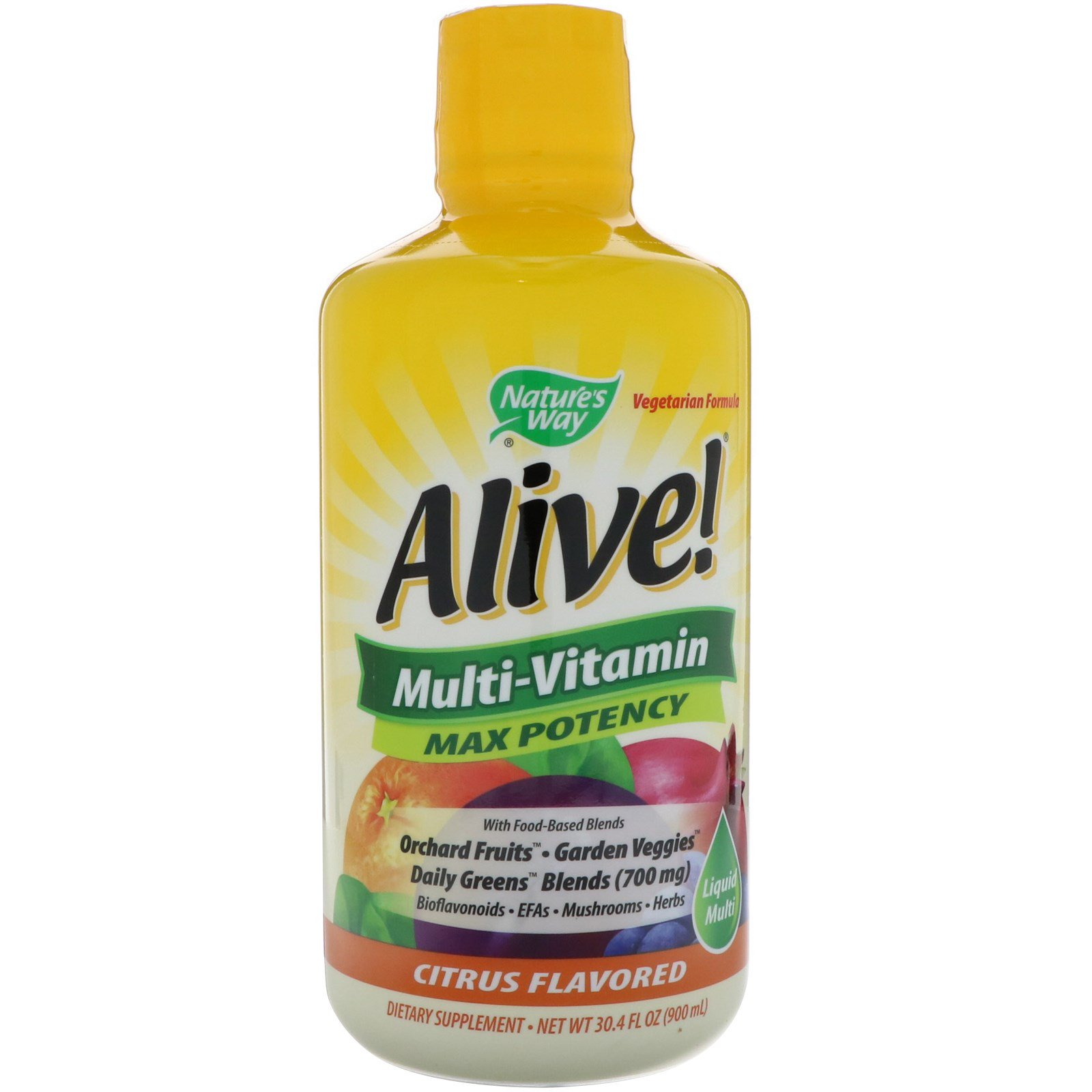 Nature's Way, Alive!, жидкие мультивитамины, максимальная эффективность, цитрусовый вкус, 30,4 ж. унц. (900мл)
