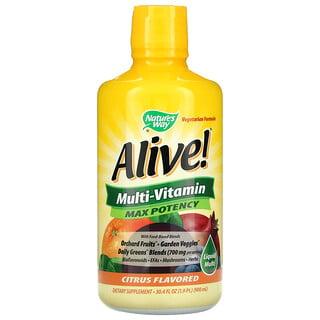 Nature's Way, Alive! Liquid Multi-Vitamin, Max Potency, Citrus, 30.4 fl oz (900 ml)