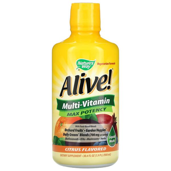 Alive! Liquid Multi-Vitamin, Max Potency, Citrus, 30.4 fl oz (900 ml)