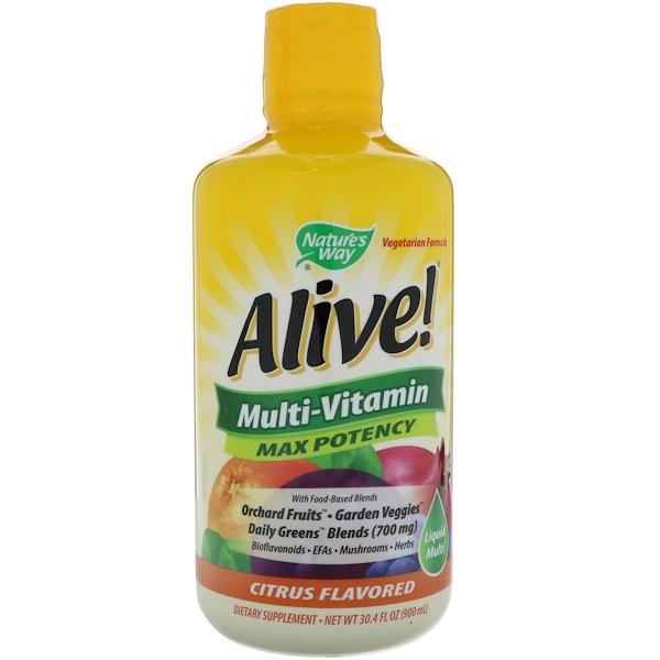 Nature's Way, Alive!,液體多種維生素,最強功效,柑橘味,30、4毫升(900毫升)