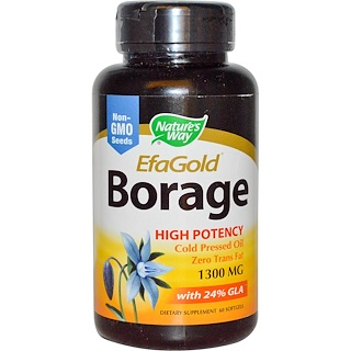 Nature's Way, EFAGold, Borage, 1300 mg, 60 Softgels