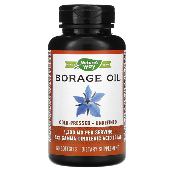 Borage Oil, 1,300 mg, 60 Softgels