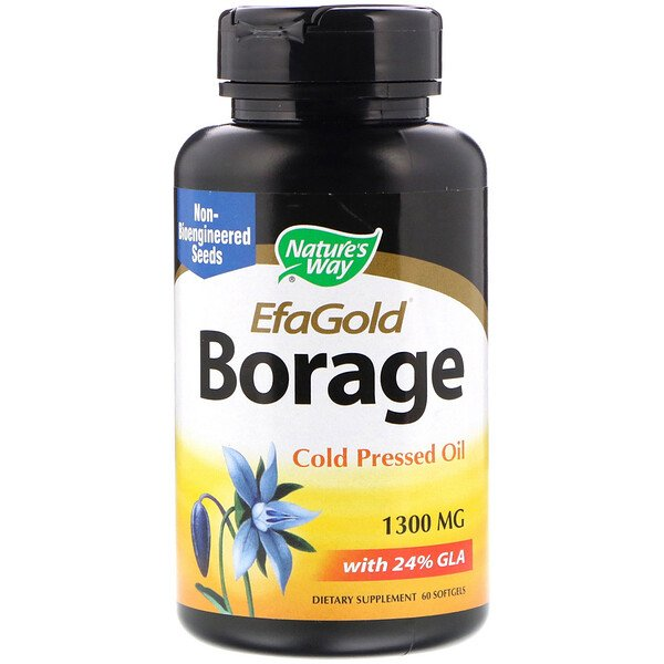Nature's Way, EFAGold, bourrache, 1300 mg, 60 capsules molles