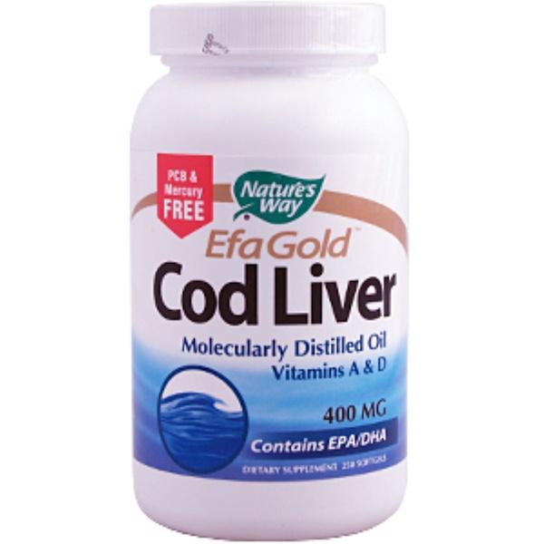 Nature's Way, EFA Gold, Cod Liver, 400 mg, 250 Softgels (Discontinued Item)
