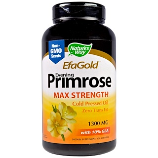 Nature's Way, EFAGold, Evening Primrose, Max Strength, 1,300 mg, 120 Softgels