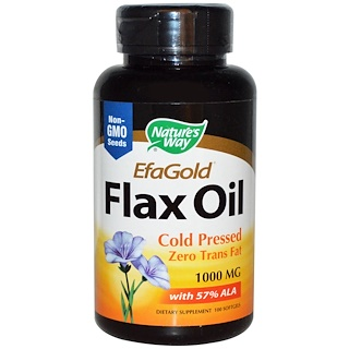 Nature's Way, EfaGold, Flax Oil, 1000 mg, 100 Softgels