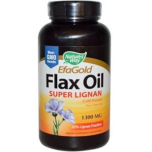 Натурес Вэй, EfaGold, Flax Oil, Super Lignan, 1300 mg, 100 Softgels отзывы
