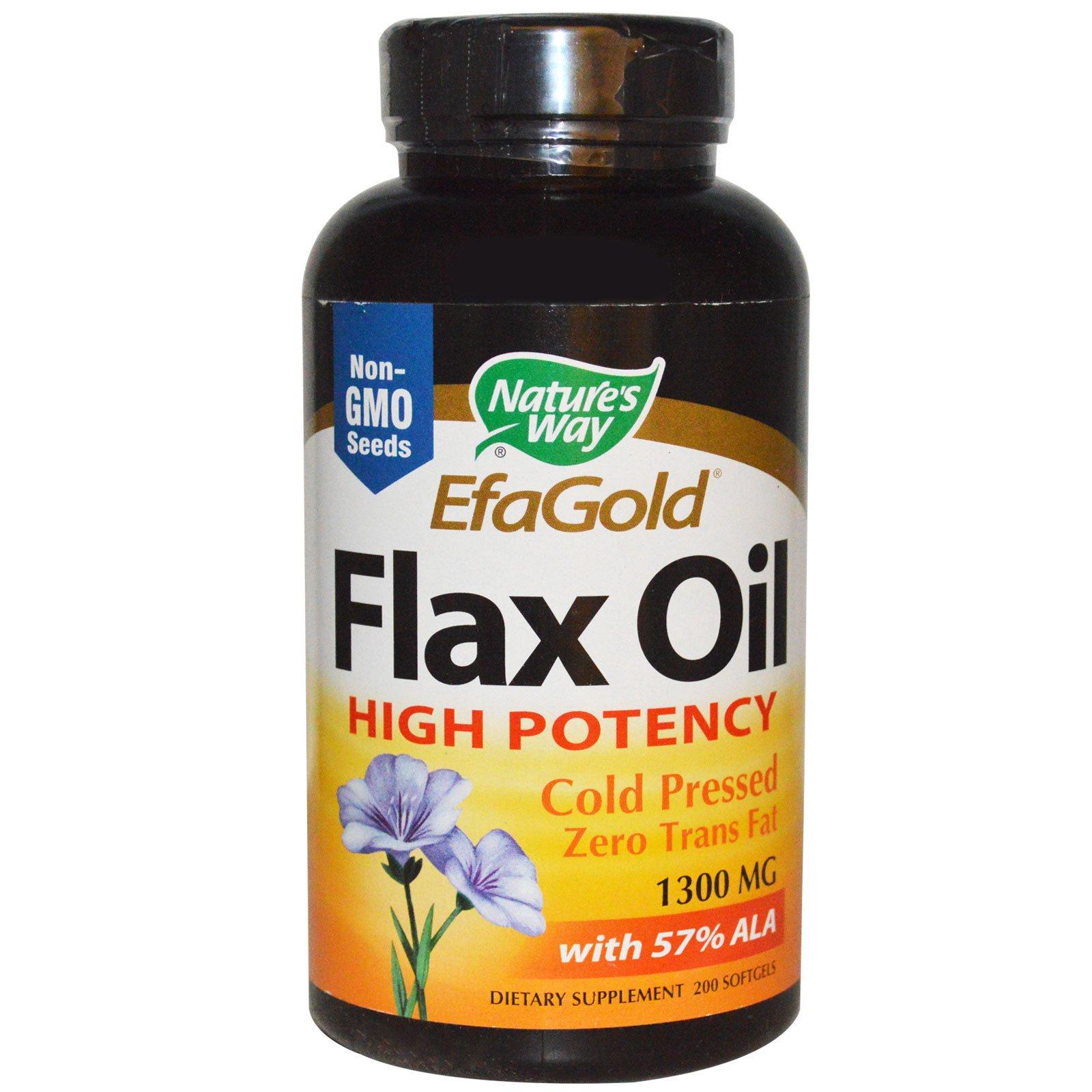 Nature's Way, EFA Gold, льняное масло, высокая активность, 1300 мг, 200 капсул
