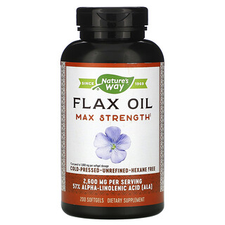 Nature's Way, Flax Oil, Max Strength, 1,300 mg, 200 Softgels