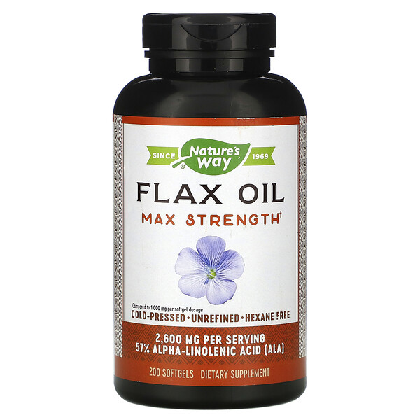 Nature's Way, Flax Oil, Max Strength, 2,600 mg, 200 Softgels