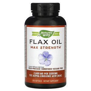 Натурес Вэй, Flax Oil, Max Strength, 2,600 mg, 200 Softgels отзывы
